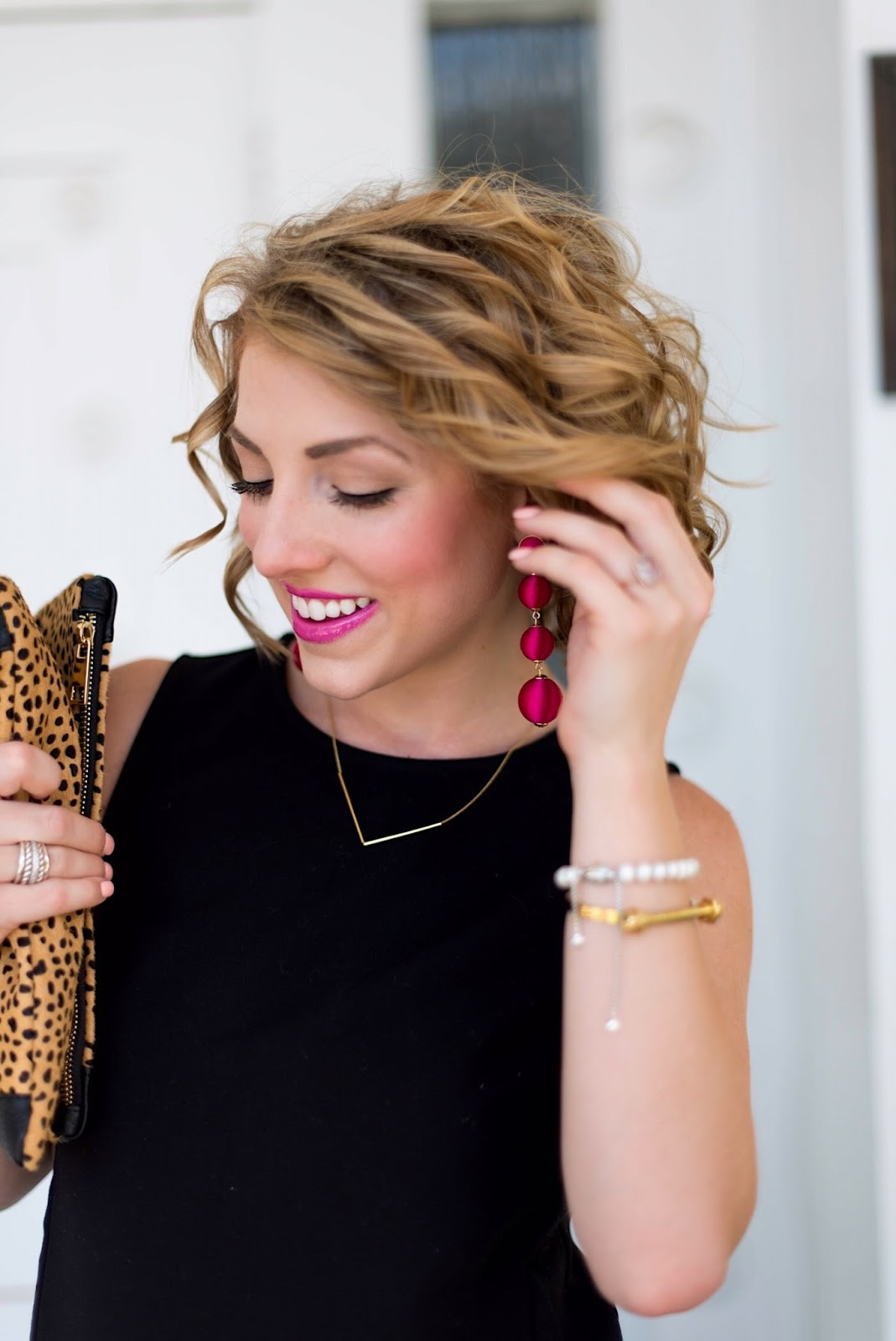Pink Lips + Pink Statement Earrings - Click through to see the full look on Something Delightful Blog!