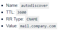 autodiscover cname record - exchange 2016