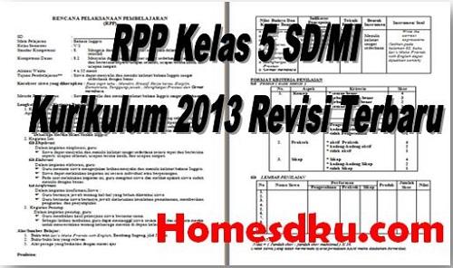 RPP Kelas 5 SD/MI Kurikulum 2013 Revisi Terbaru