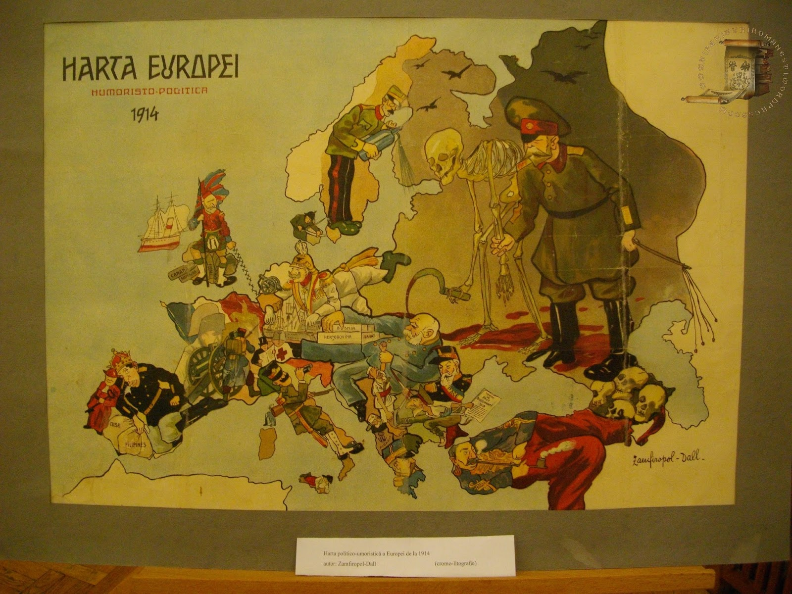 Humoristic map of Europe, 1914 (Romanian)