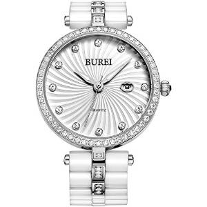 CHEAPEST PRICE £36.99 BUREI Swarovski Crystals White Ceramic Bracelet Precise Quartz Watch for Women
