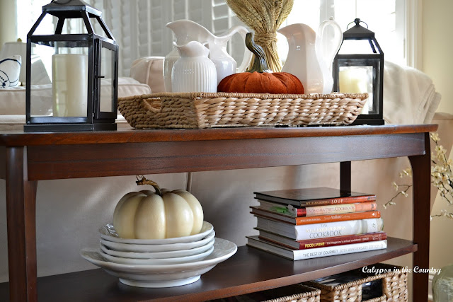 Fall Decor on Console Table