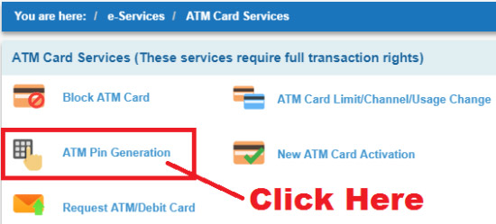 how to generate sbi atm pin online