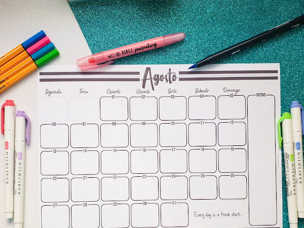 Calendário de Agosto Minimalista - Planner 2018 Gratuito