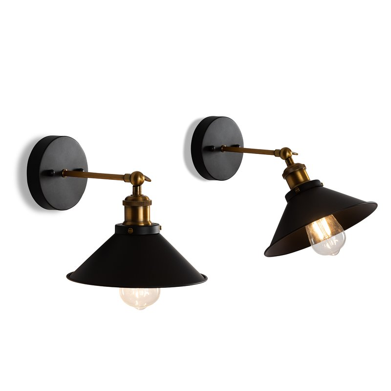 straight arm black brass sconce