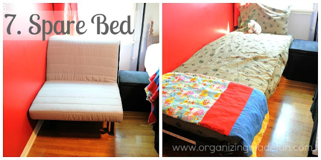 Spare bed for the child :: OrganizingMadeFun.com