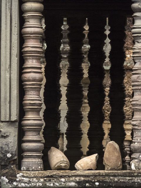 Window and columns at Banteay Samré temple near Siem Reap Cambodia