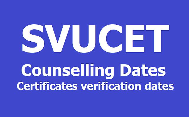 SVUCET Counselling dates, Certificates verification process for SVU PGCET 2019