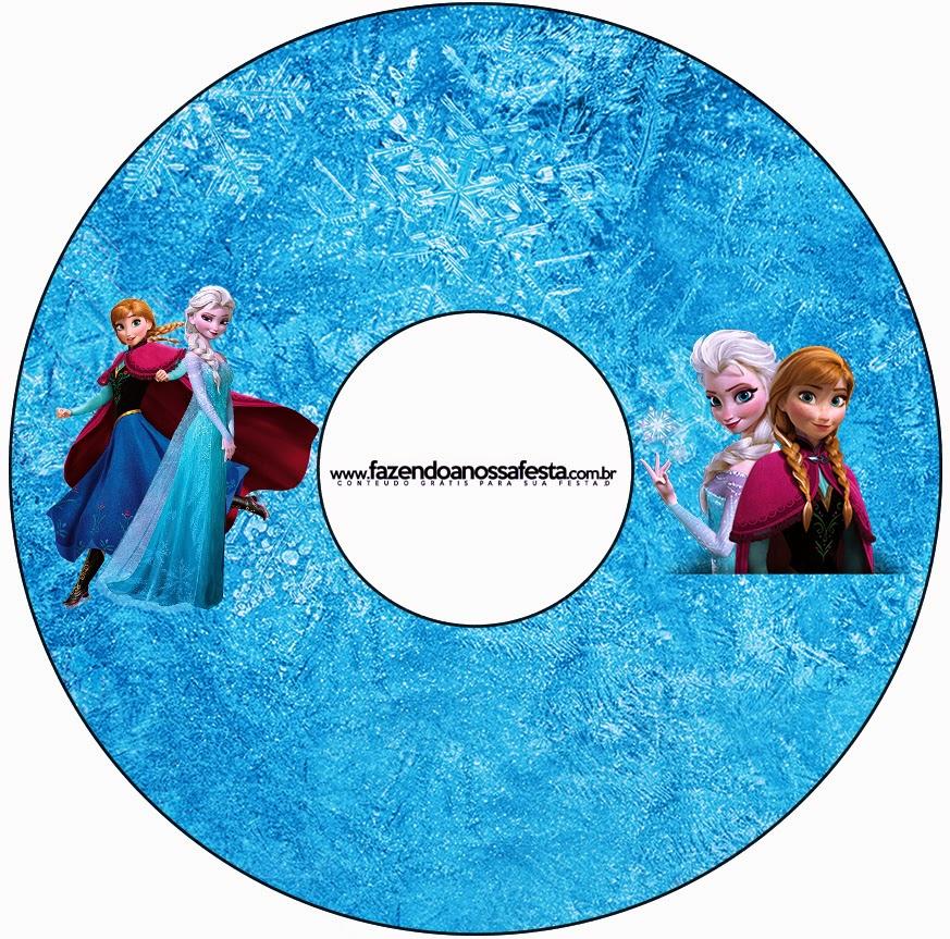 Etiquetas de Frozen Azul y Purpura  para CD's