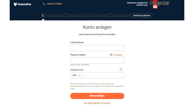 FinanceFox and 20 euro voucher for amazon.de received