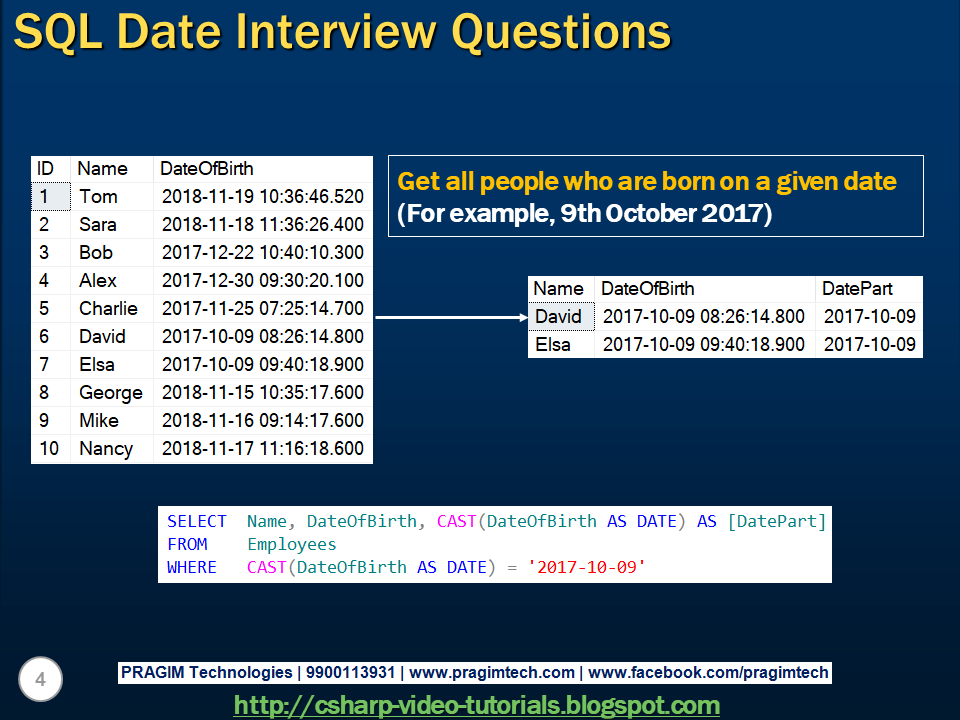 Sql server,  net and c# video tutorial: Sql date interview questions