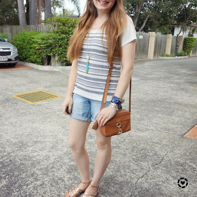 awayfromblue instagram | summer mum style striped tee and distressed denim shorts with rebecca minkoff mab camera bag