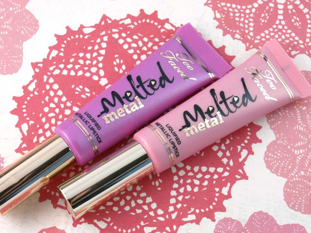 "Too Faced Melted Metal Liquified Metallic Lipstick in ""Melted Metallic Peony"" & ""Melted Metallic Violet"": Review and Swatches"