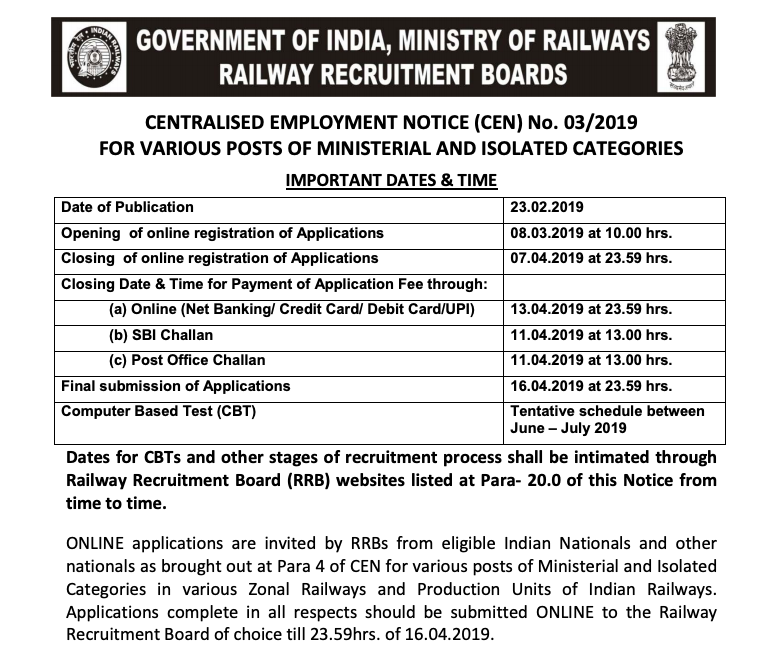 RRB Recruitment Notification CEN No  03/2019 for MINISTERIAL AND