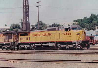 Union Pacific C40-8W #9366 at Albina Yard in Portland, Oregon, in 1992
