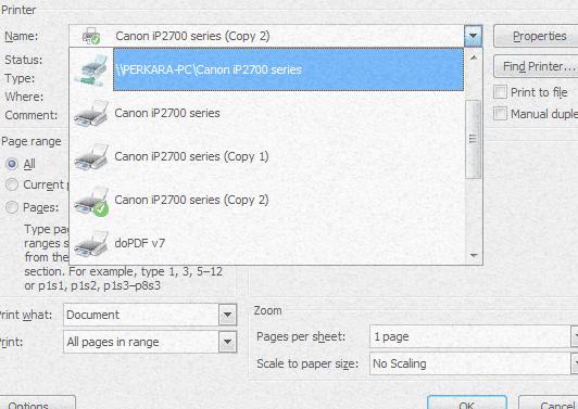 cara share printer kebanyak komputer