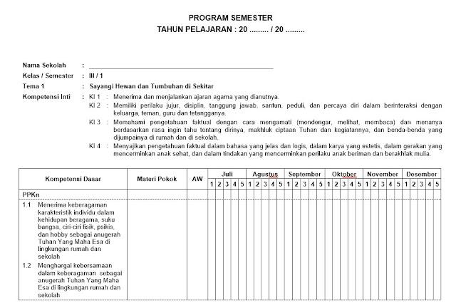 Silabus,Prota, Promes dan KKM Kelas 3 Kurikulum 2013 Revisi 2018