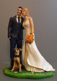 cake topper più belli con cagnolino personalizzati bouquet statuette realistiche milano orme magiche