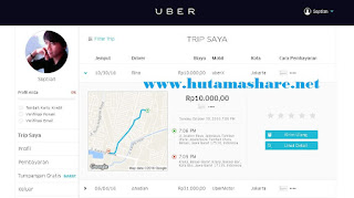 Halaman Akun Uber Penumpang