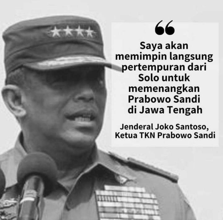 Djoko Santoso: Saya Akan Memimpin Langsung Pertempuran dari Solo untuk Prabowo-Sandi