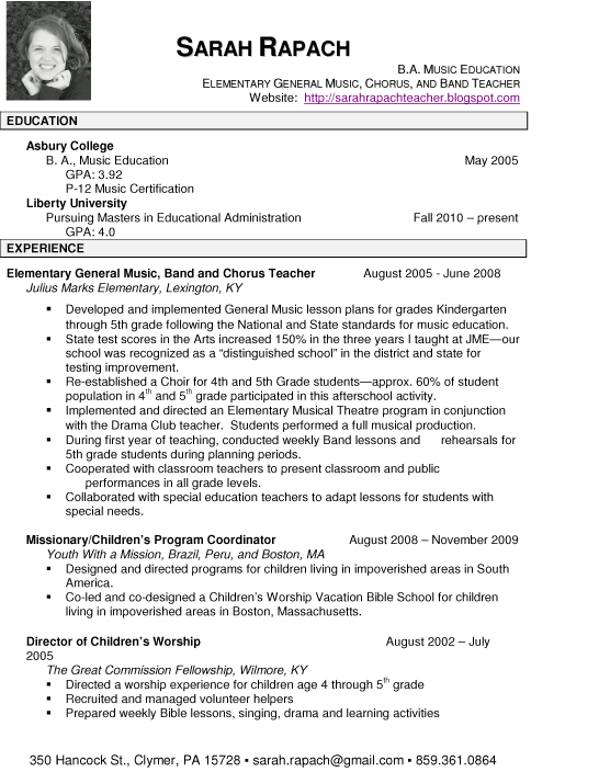 resume format  resume for music teacher