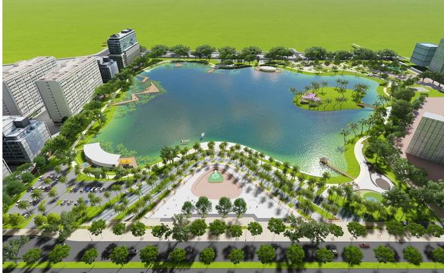Phối cảnh công viên và hồ điều hòa Phùng Khoang