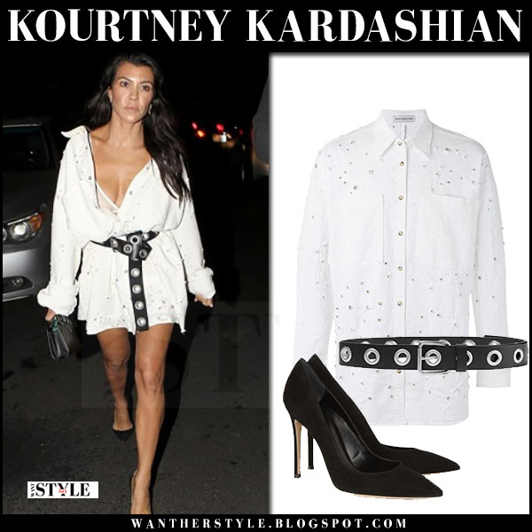 Kourtney Kardashian in white embellished belted mini dress and black pumps what she wore june 21 2017
