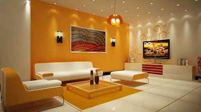 kombinasi cat ruangan warna orange putih yang anggun