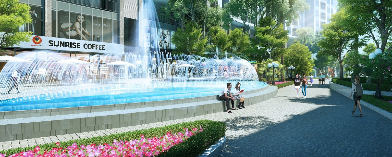 Cảnh quan đẹp tại chung cư Sun Group Quảng Bá.