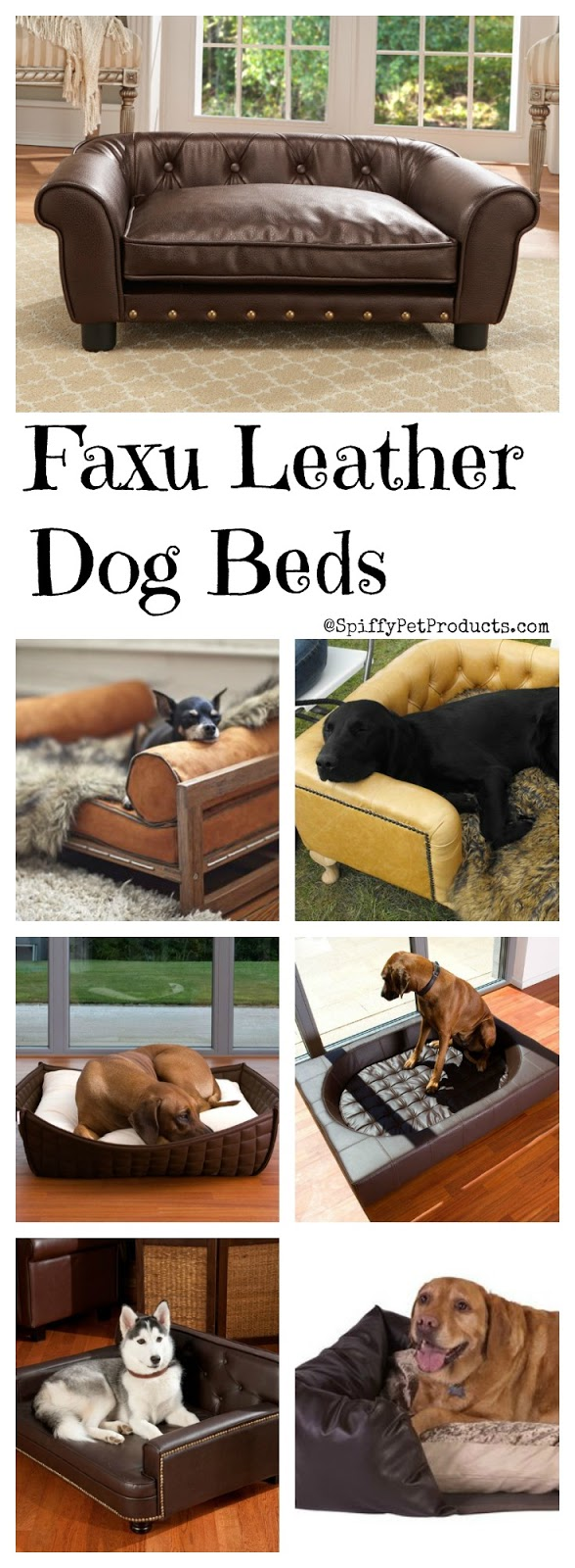 ♥ Faux Leather Dog Bed ♥ Spiffy faux leather pet bed ideas for dogs of all sizes