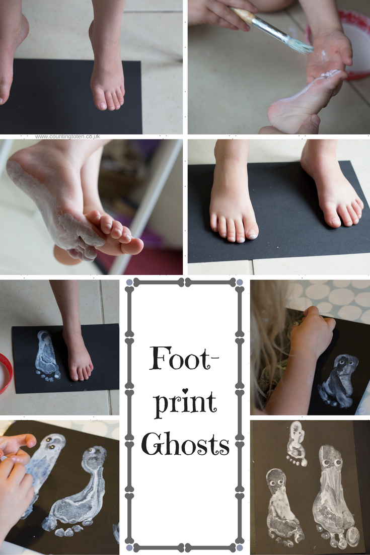 Photographs to illustrate how to make footprint ghosts as described below