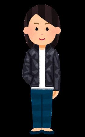 シングルの革ジャンを着た人のイラスト(女性)