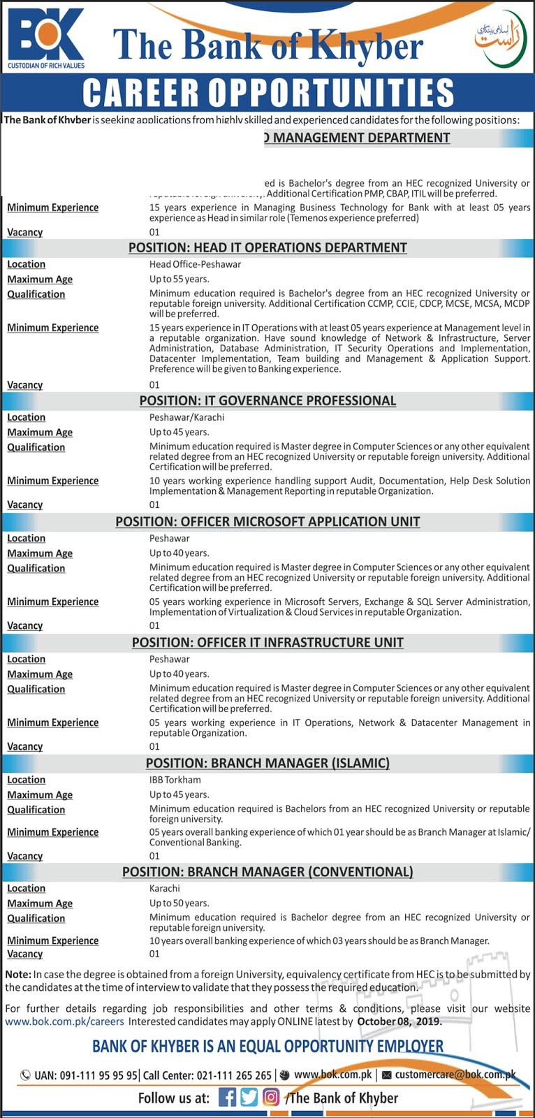 The Bank of Khyber (BoK) Jobs 2019 Apply Online Latest