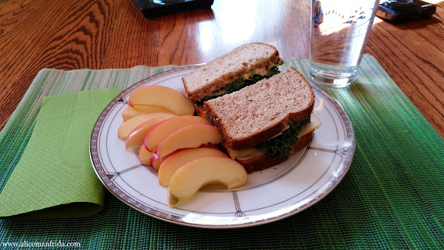 lunch, sandwich, kale, healthy eating, apple, food diary, water