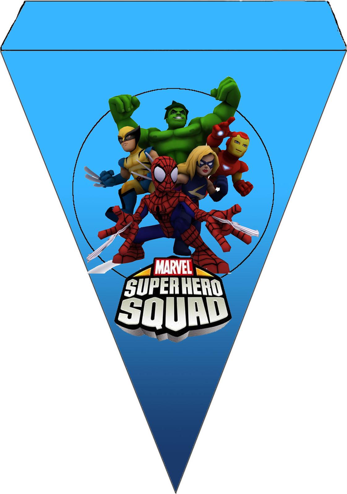 Para banderines de Marvel Superhero Squad.