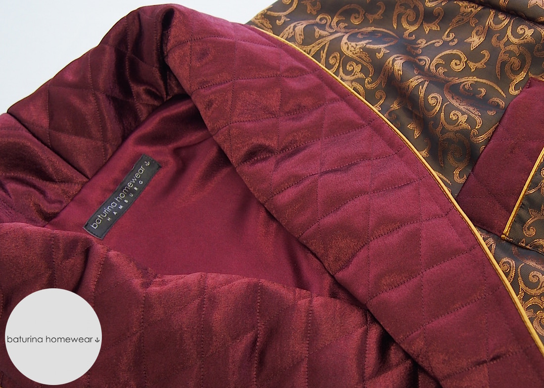 Mens Gold Burgundy Luxury Silk Dressing Gown