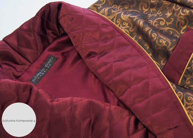mens luxury silk dressing gown quilted paisley gold burgundy wine red