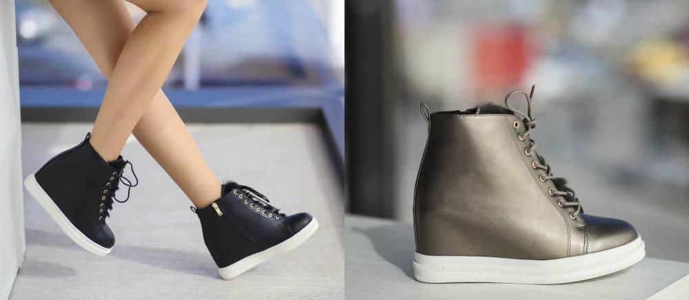 Pantofi sport dama cu platforma negri, gri ieftini - primavara 2017