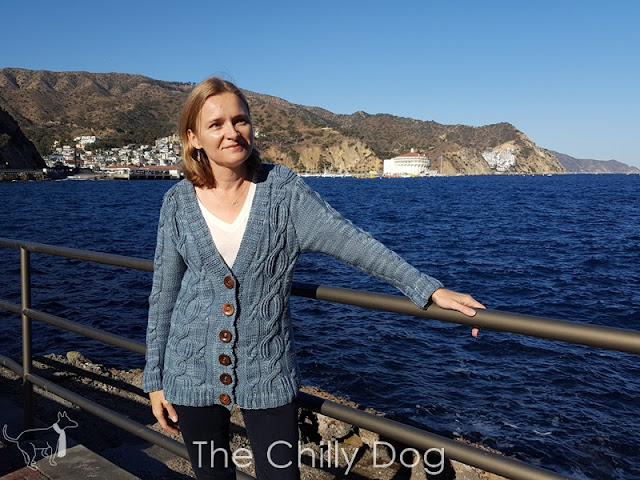 Now available from The Chilly Dog, the Slipstream Cardigan knitting pattern featuring Skacel HiKoo Sueño Worsted Yarn.