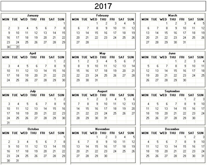 Printable Calender Quarterly Printable Calendar