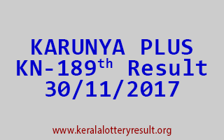 KARUNYA PLUS Lottery KN 189 Results 30-11-2017