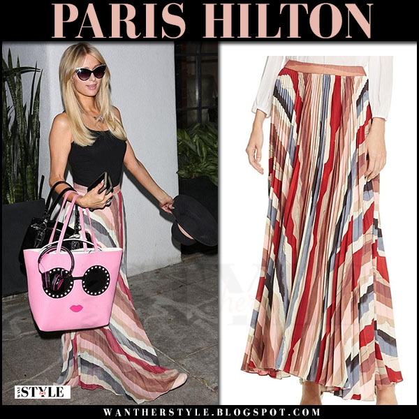 Paris Hilton in striped red maxi skirt with pink tote alice and olivia what she wore june 28 2017