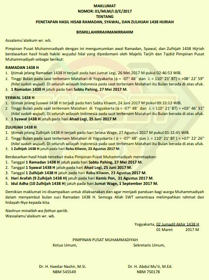 Jadwal Puasa Ramadhan 2017