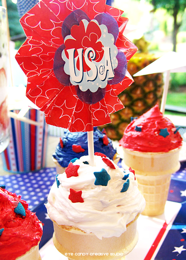 USA topper, cupcake cones, 4th of july, patriotic dessert table, USA