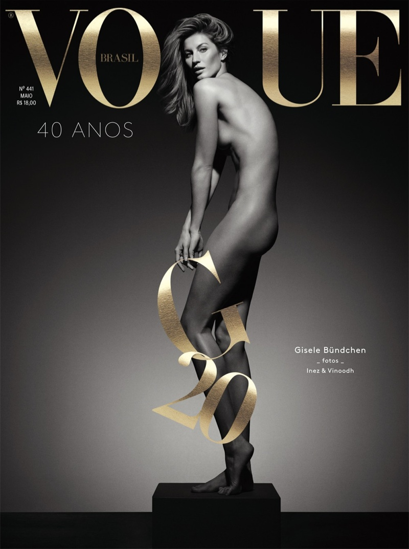 Gisele Bundchen bares it all for the Vogue Brazil May 2015 cover