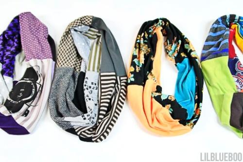 Syal / Scarf terbuat dari kain t-shirt atau kaos bekas.