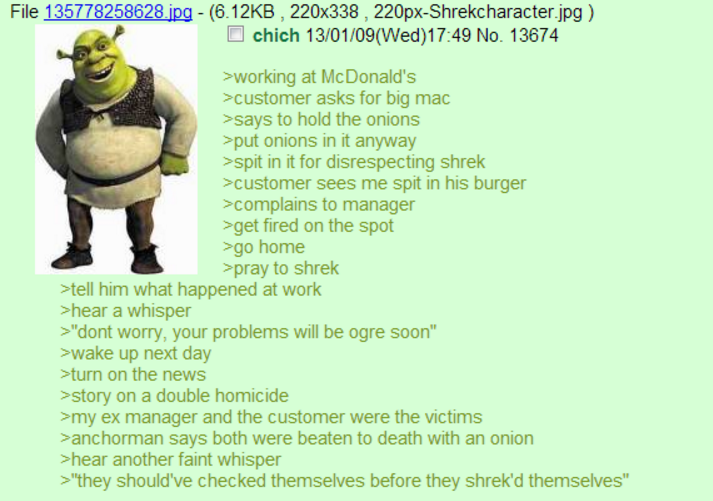 Greentext with Shrek