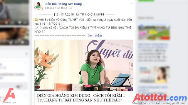 Bí quyết kiếm 1 tỷ 1 tháng của diễn giả Hoàng Kim Dung