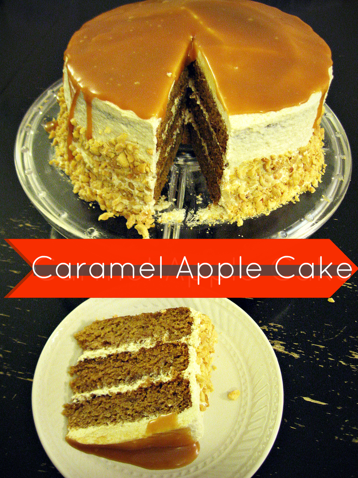 Freshly Completed Caramel Apple Cake