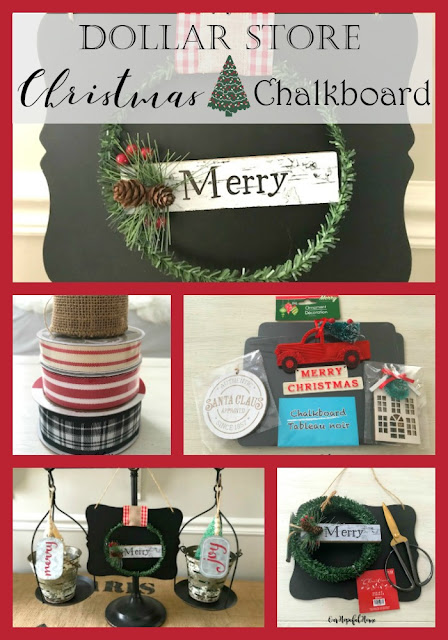 Merry ornament chalkboard sign ribbon tower farmhouse scale